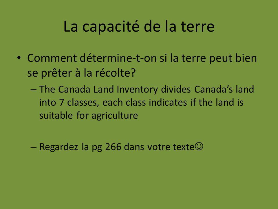 La capacité de la terre Comment détermine-t-on si la terre peut bien se prêter à la récolte? – The Canada Land Inventory divides Canadas land into 7 c