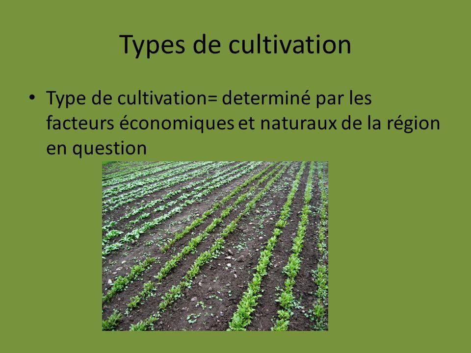 Types de cultivation Type de cultivation= determiné par les facteurs économiques et naturaux de la région en question