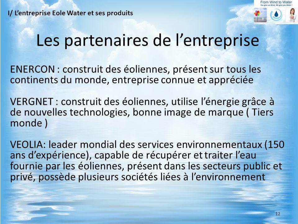ENERCON : construit des éoliennes, présent sur tous les continents du monde, entreprise connue et appréciée VERGNET : construit des éoliennes, utilise