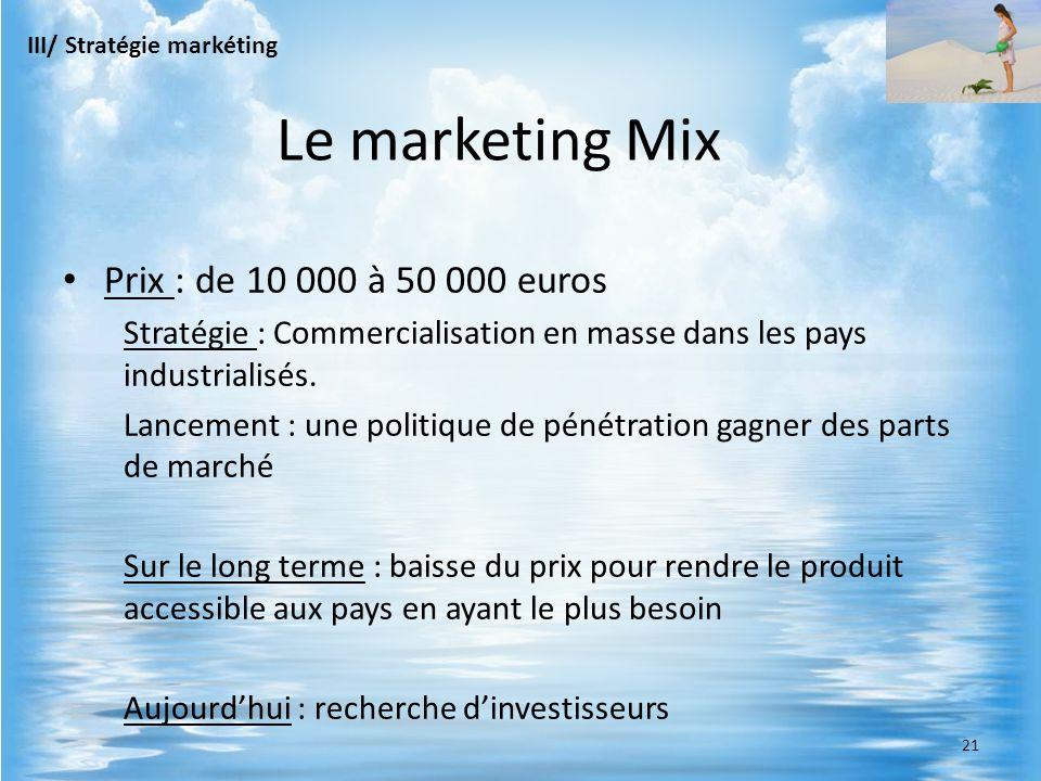 Prix : de 10 000 à 50 000 euros Stratégie : Commercialisation en masse dans les pays industrialisés. Lancement : une politique de pénétration gagner d