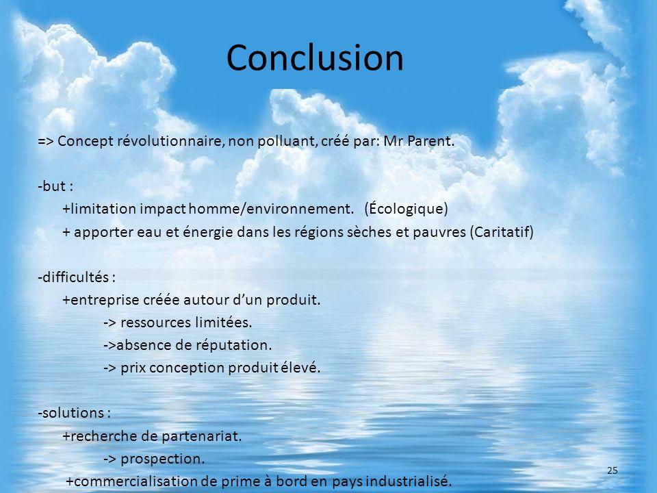 => Concept révolutionnaire, non polluant, créé par: Mr Parent. -but : +limitation impact homme/environnement. (Écologique) + apporter eau et énergie d