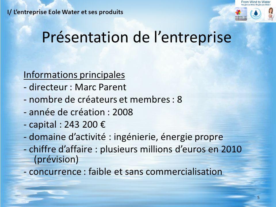 Les phases de leau Evaporation Eau liquide + T + P = Eau gazeuse Condensation Eau gazeuse + T + P= Eau liquide I/ Lentreprise Eole Water et ses produits Principe de fonctionnement 6