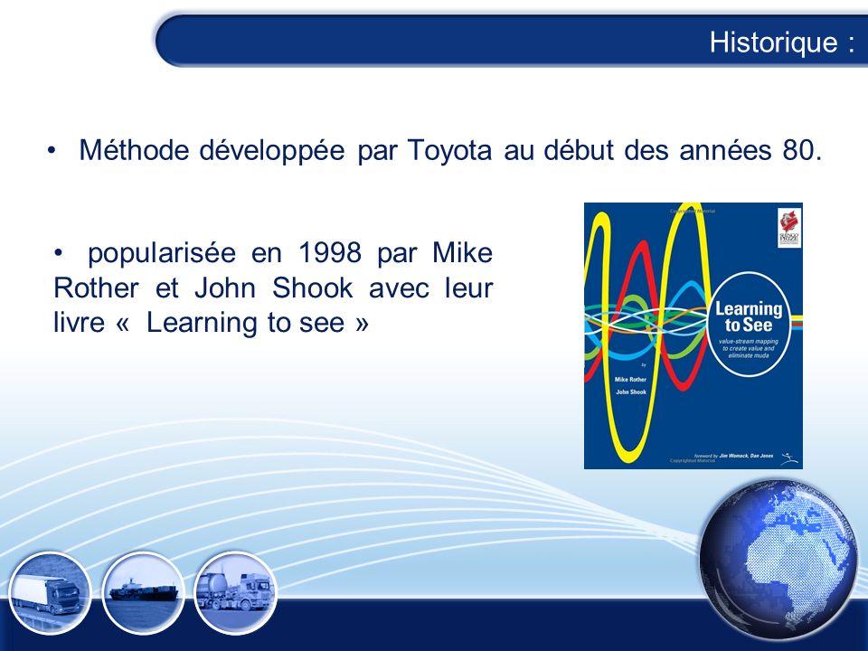 Historique : Méthode développée par Toyota au début des années 80. popularisée en 1998 par Mike Rother et John Shook avec leur livre « Learning to see