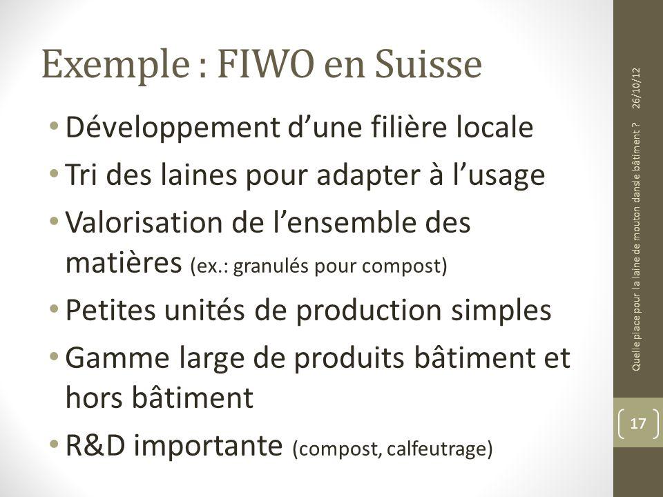 Exemple : FIWO en Suisse Développement dune filière locale Tri des laines pour adapter à lusage Valorisation de lensemble des matières (ex.: granulés