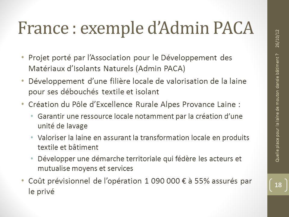 France : exemple dAdmin PACA Projet porté par lAssociation pour le Développement des Matériaux dIsolants Naturels (Admin PACA) Développement dune fili