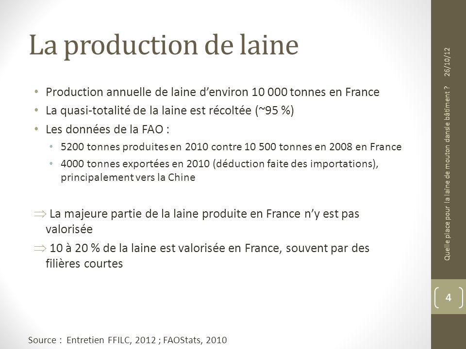 La production de laine Production annuelle de laine denviron 10 000 tonnes en France La quasi-totalité de la laine est récoltée (~95 %) Les données de
