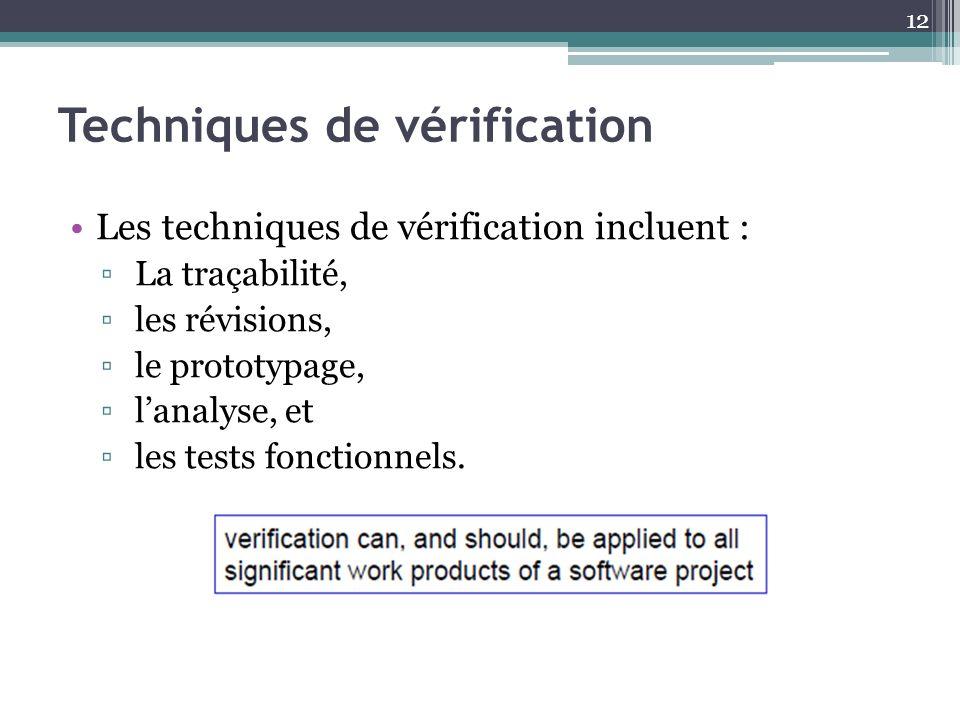 Techniques de vérification Les techniques de vérification incluent : La traçabilité, les révisions, le prototypage, lanalyse, et les tests fonctionnel
