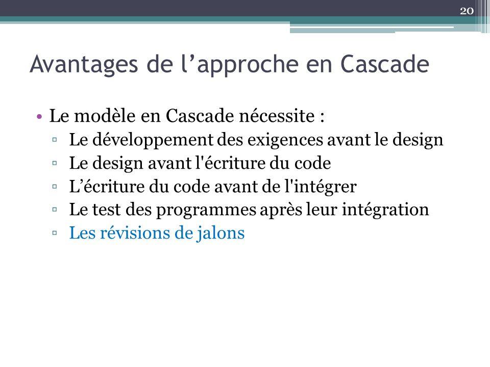 Avantages de lapproche en Cascade Le modèle en Cascade nécessite : Le développement des exigences avant le design Le design avant l'écriture du code L