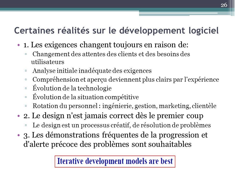 Certaines réalités sur le développement logiciel 1. Les exigences changent toujours en raison de: Changement des attentes des clients et des besoins d