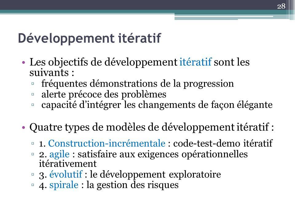 Développement itératif Les objectifs de développement itératif sont les suivants : fréquentes démonstrations de la progression alerte précoce des prob