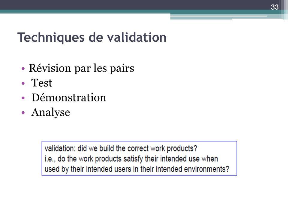 Techniques de validation Révision par les pairs Test Démonstration Analyse 33