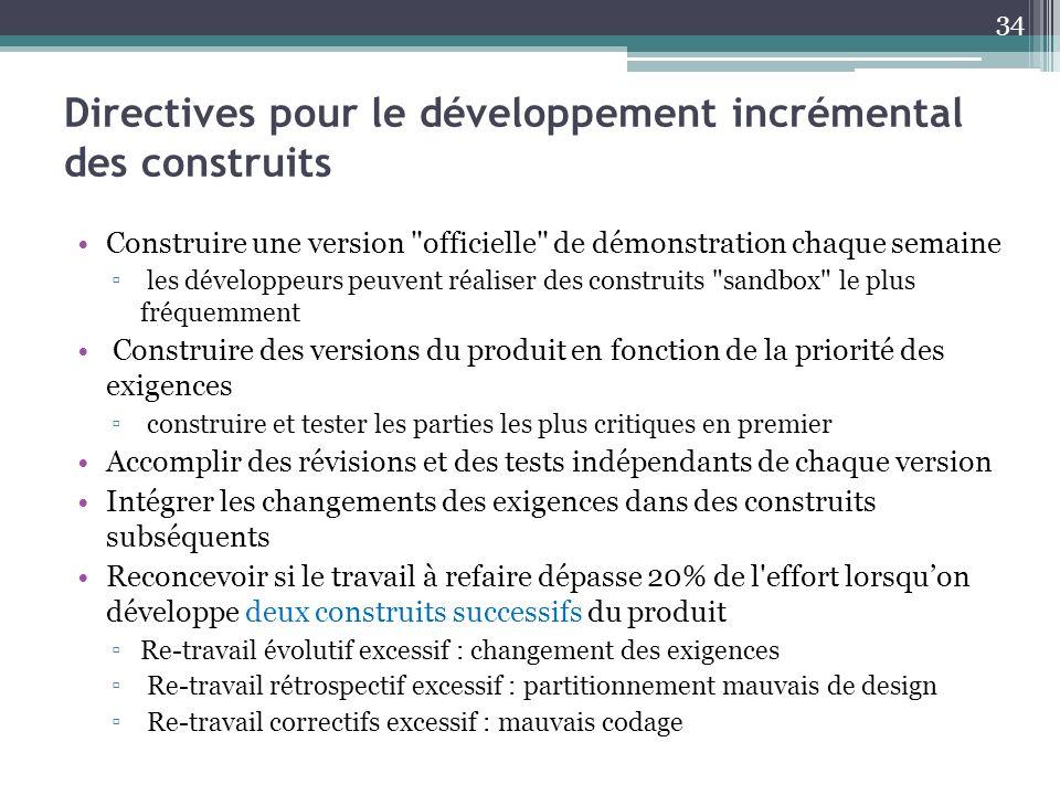 Directives pour le développement incrémental des construits Construire une version