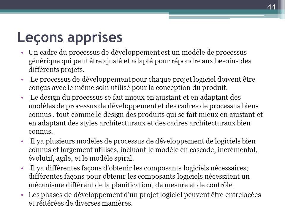 Leçons apprises Un cadre du processus de développement est un modèle de processus générique qui peut être ajusté et adapté pour répondre aux besoins d