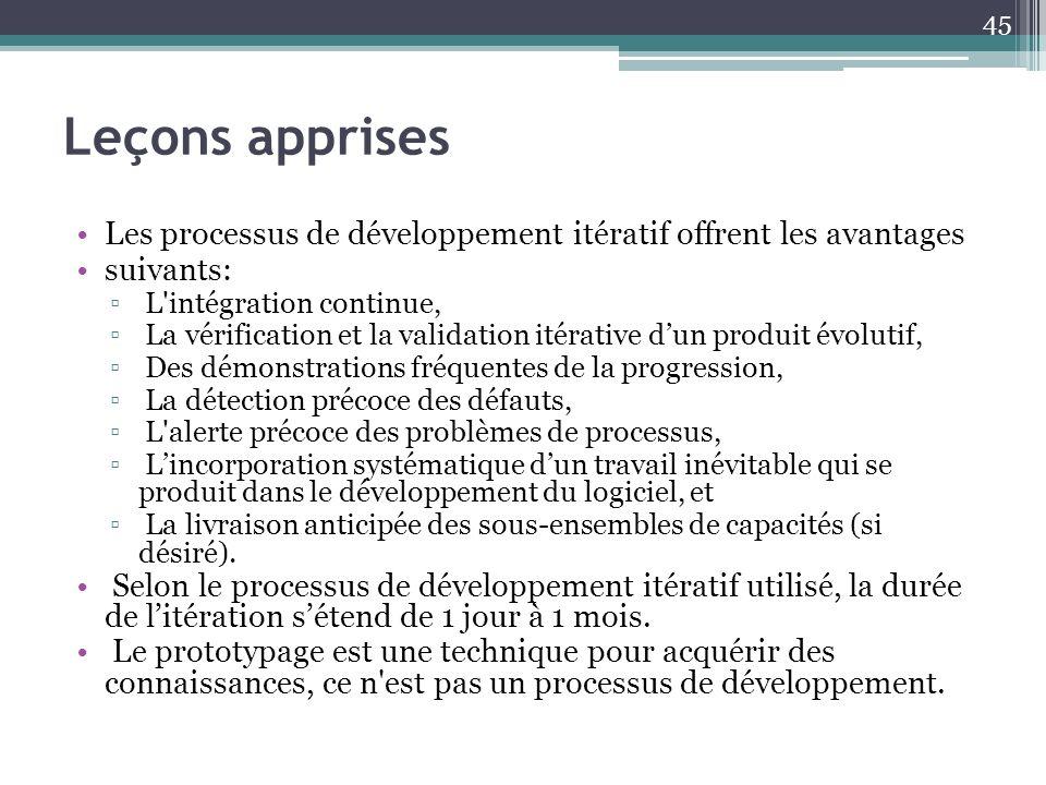 Leçons apprises Les processus de développement itératif offrent les avantages suivants: L'intégration continue, La vérification et la validation itéra