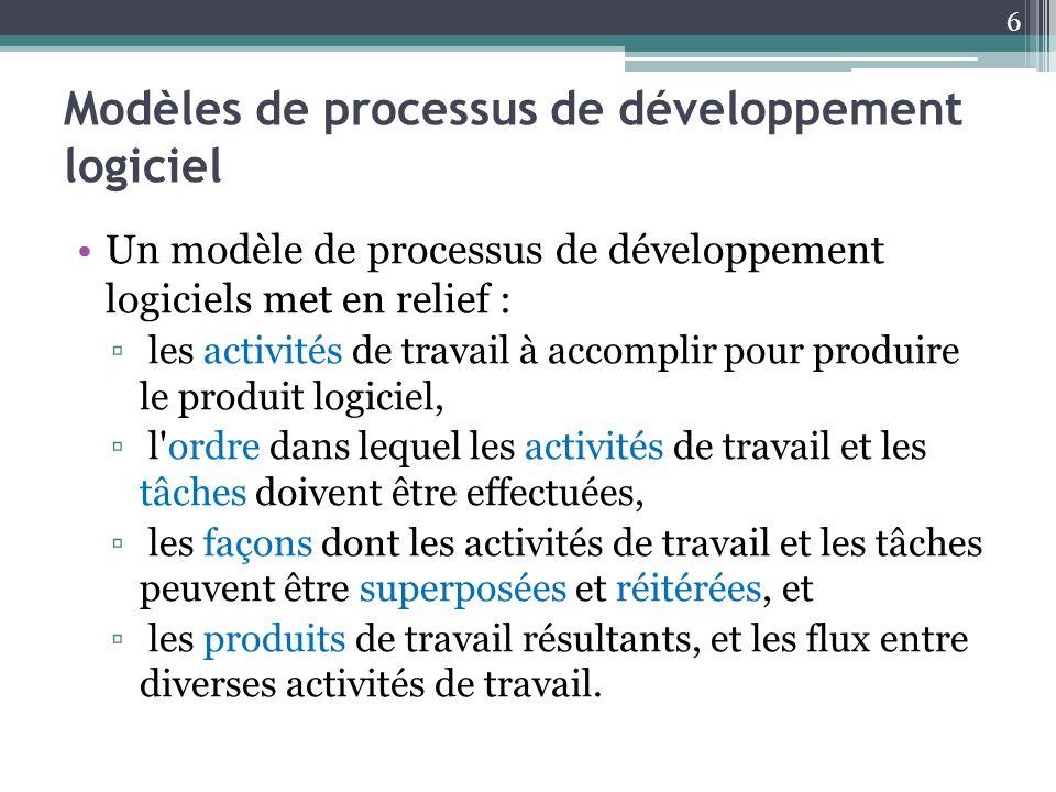 Modèles de processus de développement logiciel Un modèle de processus de développement logiciels met en relief : les activités de travail à accomplir
