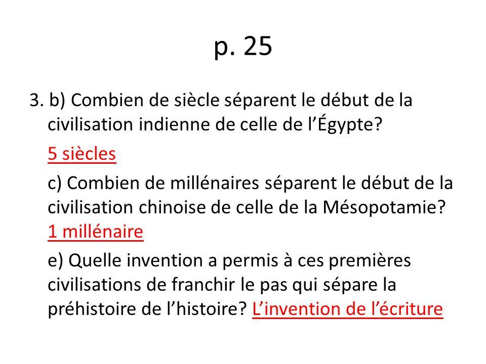p.25 3. b) Combien de siècle séparent le début de la civilisation indienne de celle de lÉgypte.