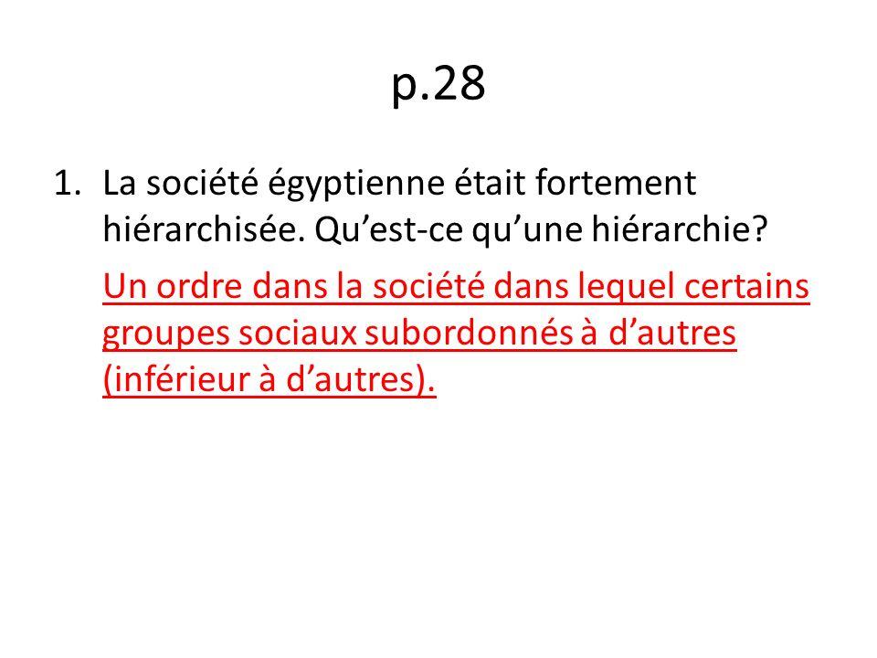 p.28 1.La société égyptienne était fortement hiérarchisée.