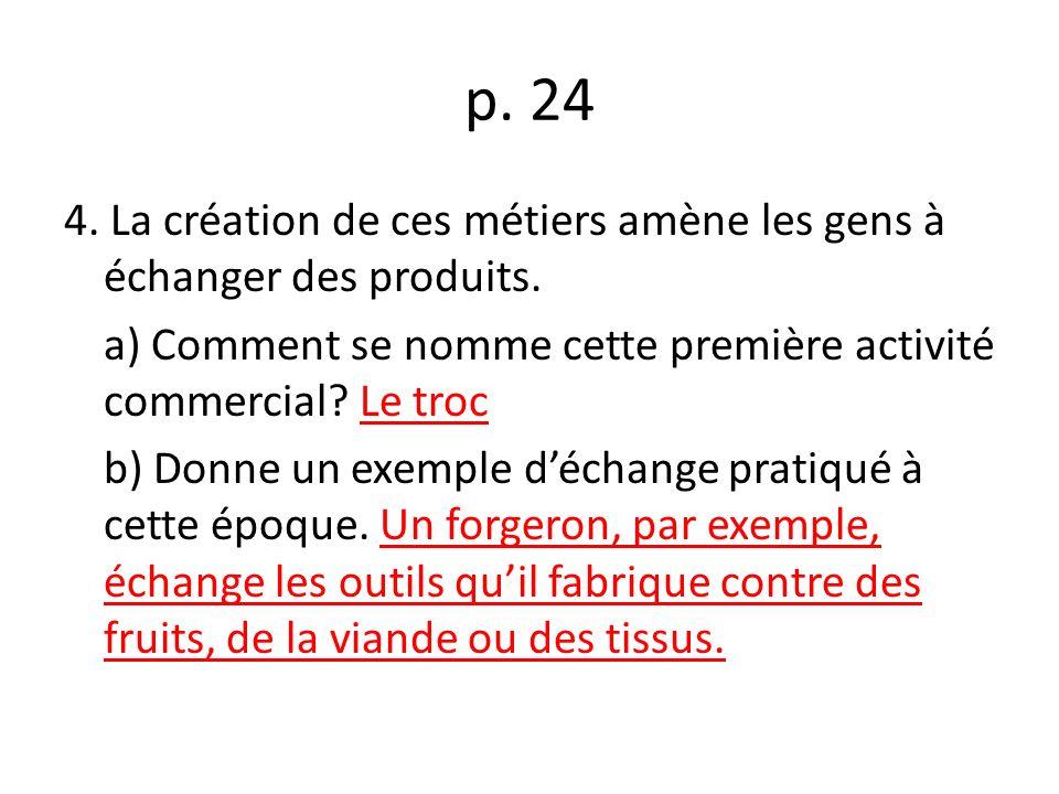 p.24 4. La création de ces métiers amène les gens à échanger des produits.