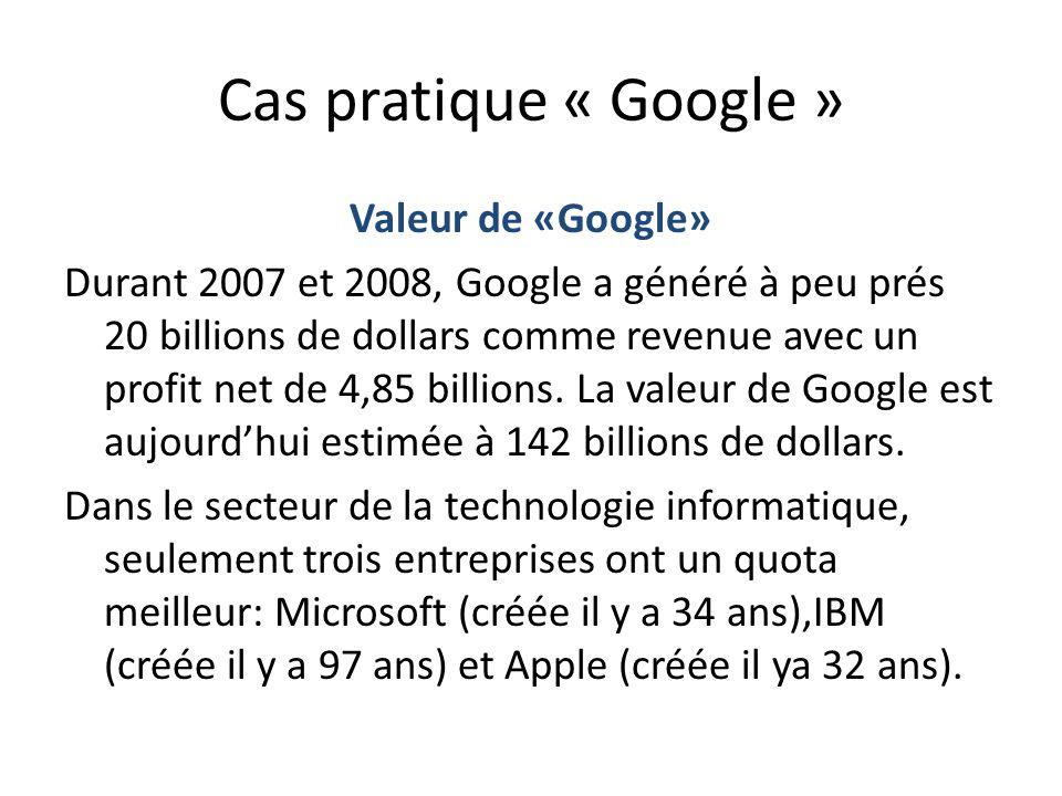 Cas pratique « Google » Valeur de «Google» Durant 2007 et 2008, Google a généré à peu prés 20 billions de dollars comme revenue avec un profit net de