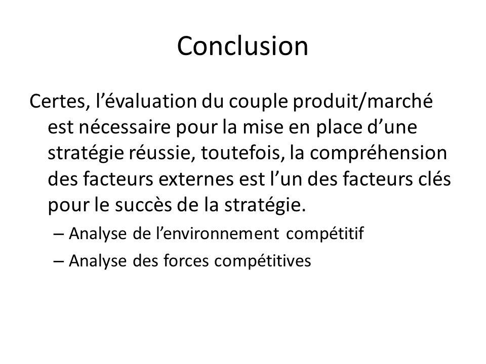 Conclusion Certes, lévaluation du couple produit/marché est nécessaire pour la mise en place dune stratégie réussie, toutefois, la compréhension des f