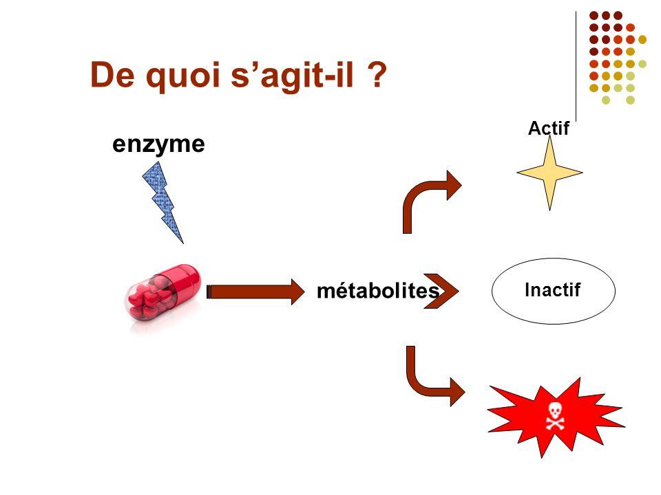 De quoi sagit-il ? enzyme métabolites Inactif Actif