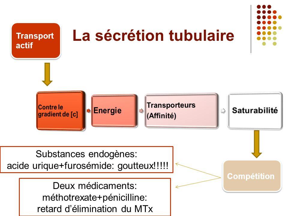 La sécrétion tubulaire Transport actif Compétition Substances endogènes: acide urique+furosémide: goutteux!!!!.