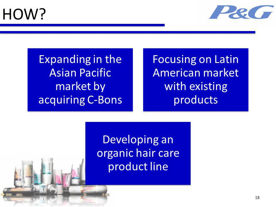 Expanding in the Asian Pacific market by acquiring C-Bons Focusing on Latin American market with existing products Developing an organic hair care product line HOW.