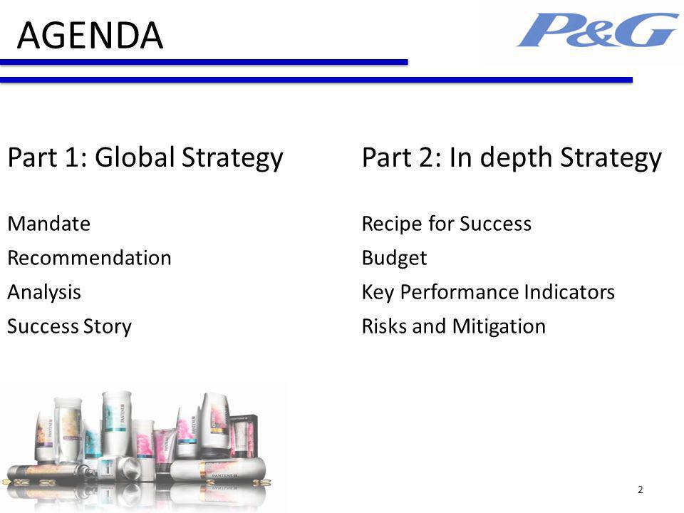 AGENDA Part 1: Global StrategyPart 2: In depth Strategy MandateRecipe for Success RecommendationBudget AnalysisKey Performance Indicators Success StoryRisks and Mitigation 2