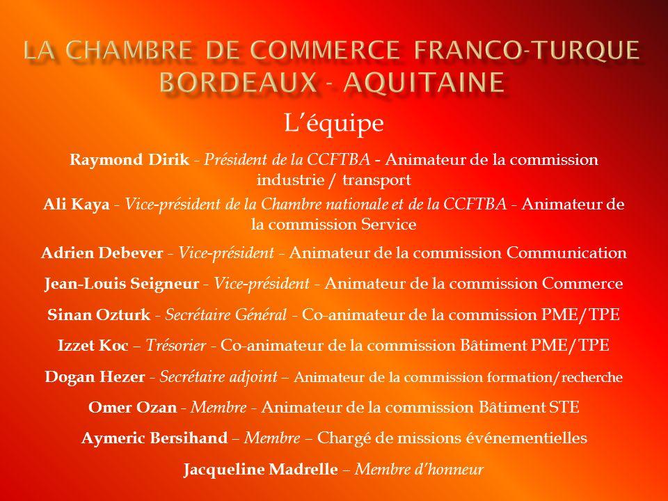 Œuvrer à linstallation dun Consulat turque à Bordeaux (sera effectif en 2011) Missions économiques en Turquie et à Chypre Participation à lannée de la Turquie en France Lancement dun site internet, vitrine de la CCFT Grande soirée dinauguration