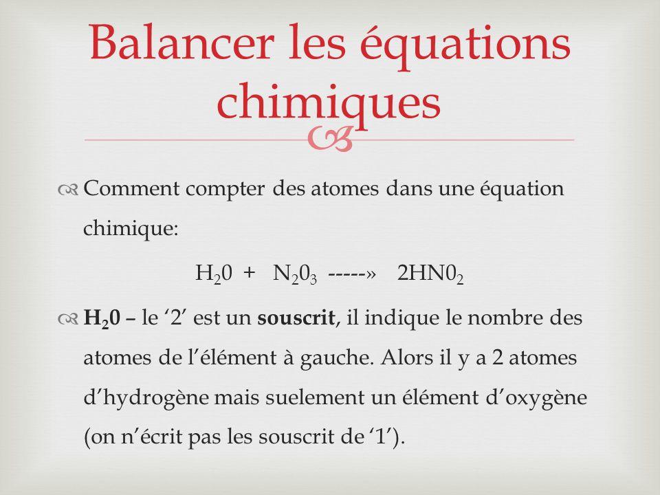 Comment compter des atomes dans une équation chimique: H 2 0 + N 2 0 3 -----» 2HN0 2 H 2 0 – le 2 est un souscrit, il indique le nombre des atomes de