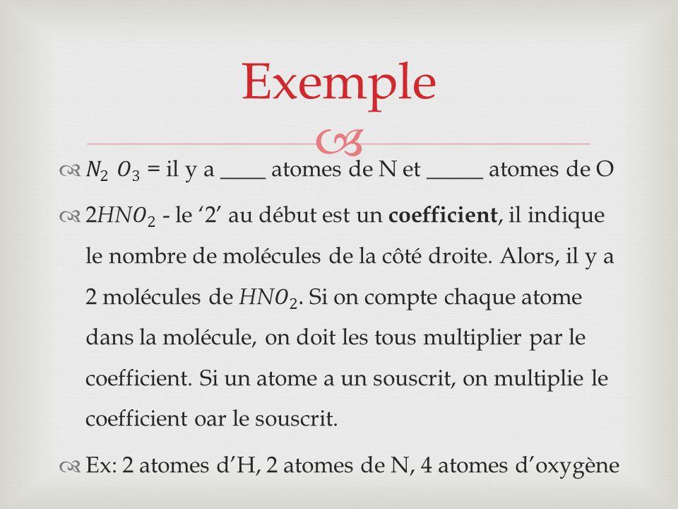 Une équation écrit en se servant de mots ou nom des réactifs et produits Hydrogène + (en réaction avec) oxygène (donne) eau Les réactifs les produits Cette équation nominale se lit comme le suivant: Lhydrogène en réaction avec oxygène donne de leau Équation nominale