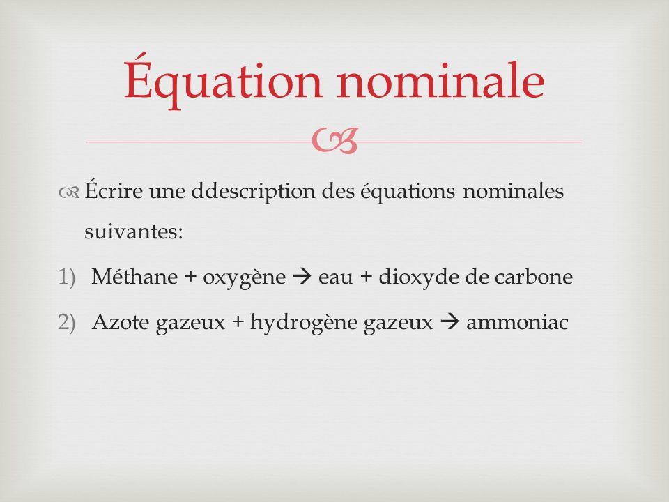 Écrire une ddescription des équations nominales suivantes: 1)Méthane + oxygène eau + dioxyde de carbone 2)Azote gazeux + hydrogène gazeux ammoniac Équ