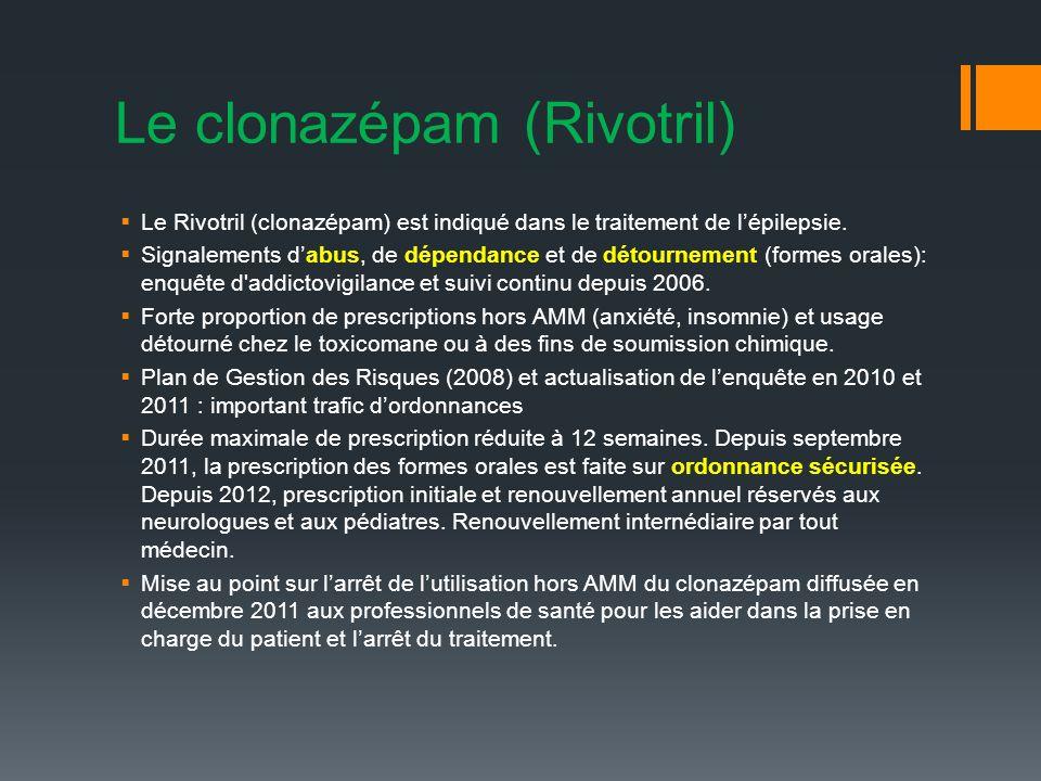 Le clonazépam (Rivotril) Le Rivotril (clonazépam) est indiqué dans le traitement de lépilepsie.