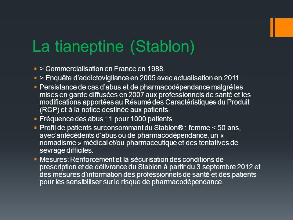 La tianeptine (Stablon) > Commercialisation en France en 1988.