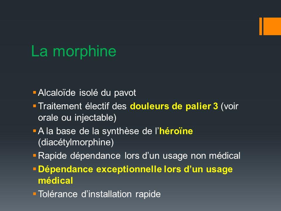 La morphine Alcaloïde isolé du pavot Traitement électif des douleurs de palier 3 (voir orale ou injectable) A la base de la synthèse de lhéroïne (diacétylmorphine) Rapide dépendance lors dun usage non médical Dépendance exceptionnelle lors dun usage médical Tolérance dinstallation rapide