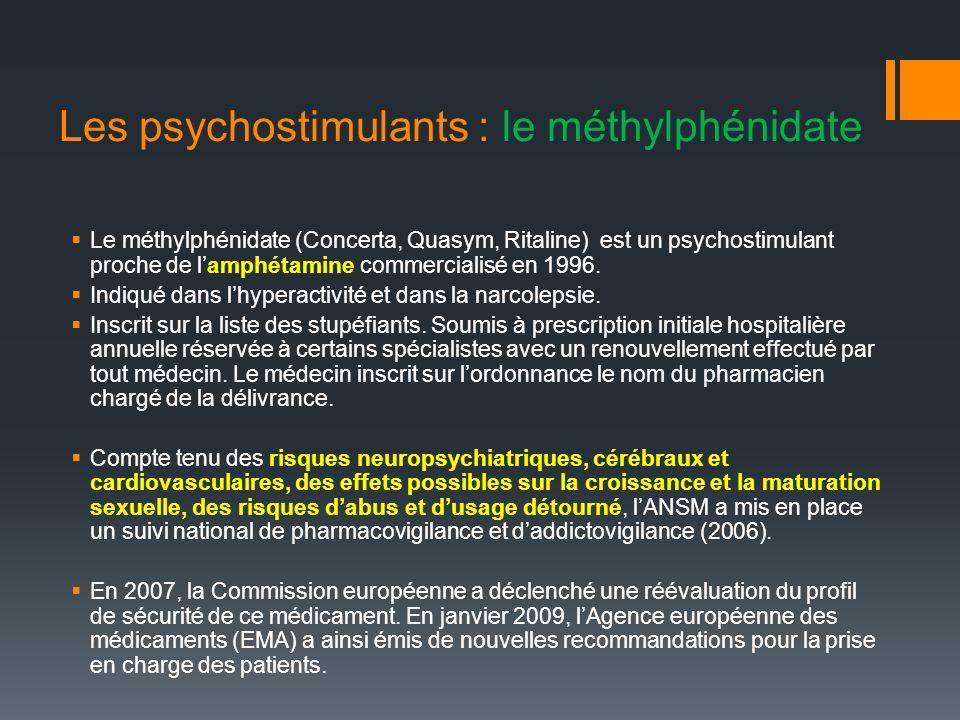 Les psychostimulants : le méthylphénidate Le méthylphénidate (Concerta, Quasym, Ritaline) est un psychostimulant proche de lamphétamine commercialisé en 1996.