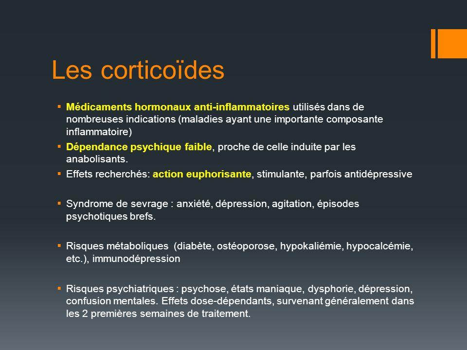 Les corticoïdes Médicaments hormonaux anti-inflammatoires utilisés dans de nombreuses indications (maladies ayant une importante composante inflammatoire) Dépendance psychique faible, proche de celle induite par les anabolisants.