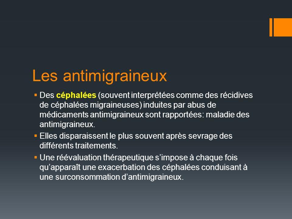 Les antimigraineux Des céphalées (souvent interprétées comme des récidives de céphalées migraineuses) induites par abus de médicaments antimigraineux sont rapportées: maladie des antimigraineux.
