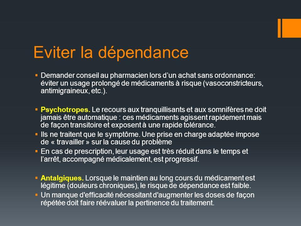 Eviter la dépendance Demander conseil au pharmacien lors dun achat sans ordonnance: éviter un usage prolongé de médicaments à risque (vasoconstricteurs, antimigraineux, etc.).