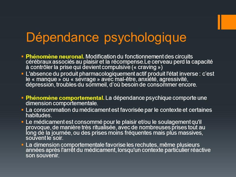 Dépendance psychologique Phénomène neuronal.