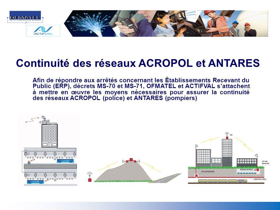 Continuité des réseaux ACROPOL et ANTARES Afin de répondre aux arrêtés concernant les Établissements Recevant du Public (ERP), décrets MS-70 et MS-71,