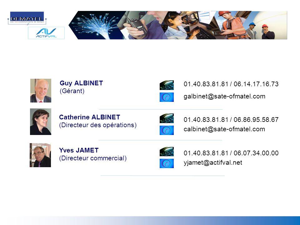 Guy ALBINET (Gérant) Yves JAMET (Directeur commercial) Catherine ALBINET (Directeur des opérations) 01.40.83.81.81 / 06.14.17.16.73 galbinet@sate-ofma