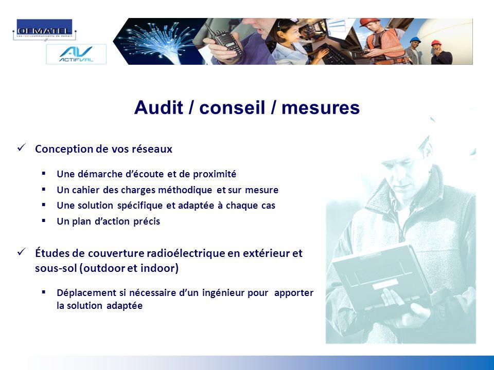 Audit / conseil / mesures Conception de vos réseaux Une démarche découte et de proximité Un cahier des charges méthodique et sur mesure Une solution s