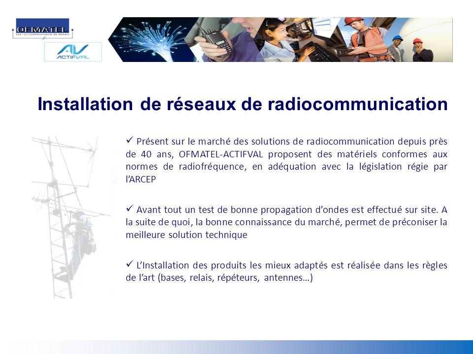 Installation de réseaux de radiocommunication Présent sur le marché des solutions de radiocommunication depuis près de 40 ans, OFMATEL-ACTIFVAL propos