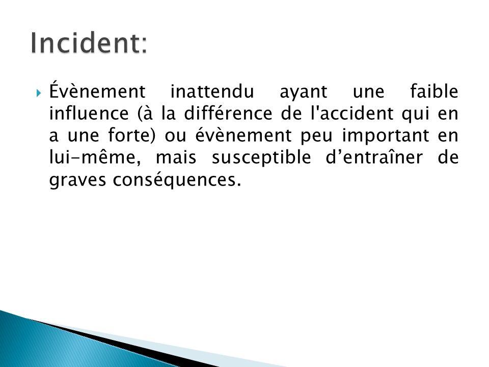 Évènement inattendu ayant une faible influence (à la différence de l accident qui en a une forte) ou évènement peu important en lui-même, mais susceptible dentraîner de graves conséquences.