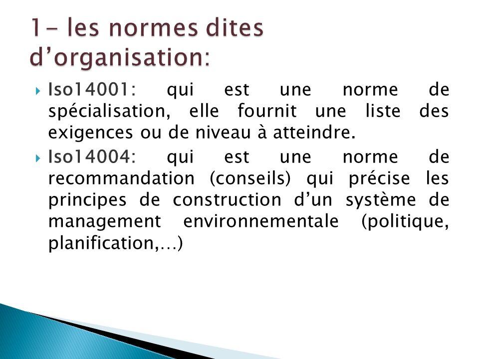 Iso14010: principes de laudit environnementale.Iso14011: pratique de laudit.
