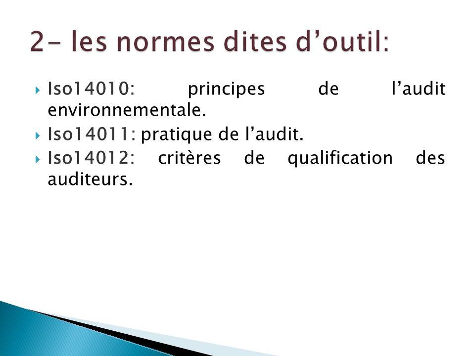 Iso14010: principes de laudit environnementale. Iso14011: pratique de laudit. Iso14012: critères de qualification des auditeurs.