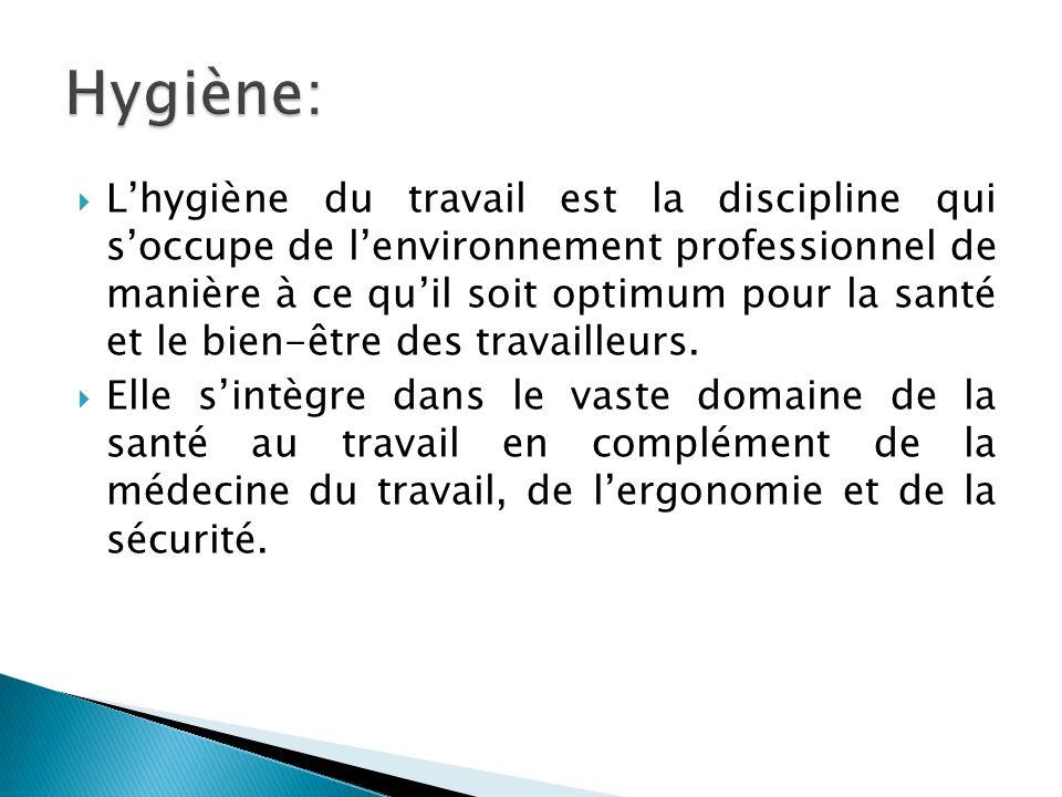 Lhygiène du travail est la discipline qui soccupe de lenvironnement professionnel de manière à ce quil soit optimum pour la santé et le bien-être des travailleurs.