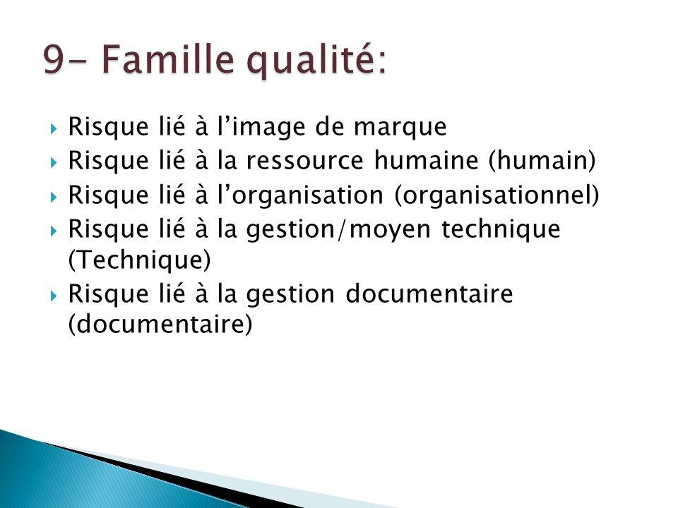 Risque lié à limage de marque Risque lié à la ressource humaine (humain) Risque lié à lorganisation (organisationnel) Risque lié à la gestion/moyen technique (Technique) Risque lié à la gestion documentaire (documentaire)