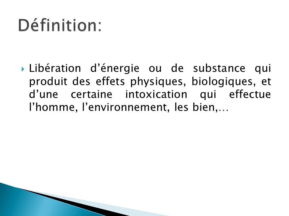Libération dénergie ou de substance qui produit des effets physiques, biologiques, et dune certaine intoxication qui effectue lhomme, lenvironnement, les bien,…